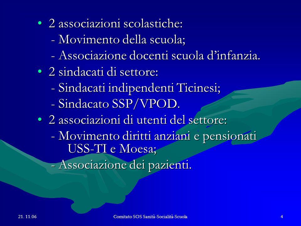 21. 11.06Comitato SOS Sanità-Socialità-Scuola4 2 associazioni scolastiche:2 associazioni scolastiche: - Movimento della scuola; - Movimento della scuo
