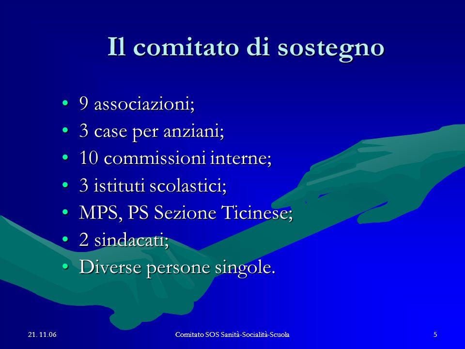21. 11.06Comitato SOS Sanità-Socialità-Scuola5 Il comitato di sostegno 9 associazioni;9 associazioni; 3 case per anziani;3 case per anziani; 10 commis