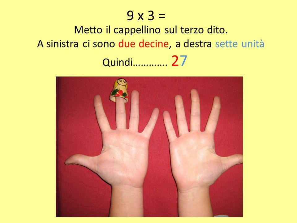 9 x 3 = Metto il cappellino sul terzo dito. A sinistra ci sono due decine, a destra sette unità Quindi…………. 27