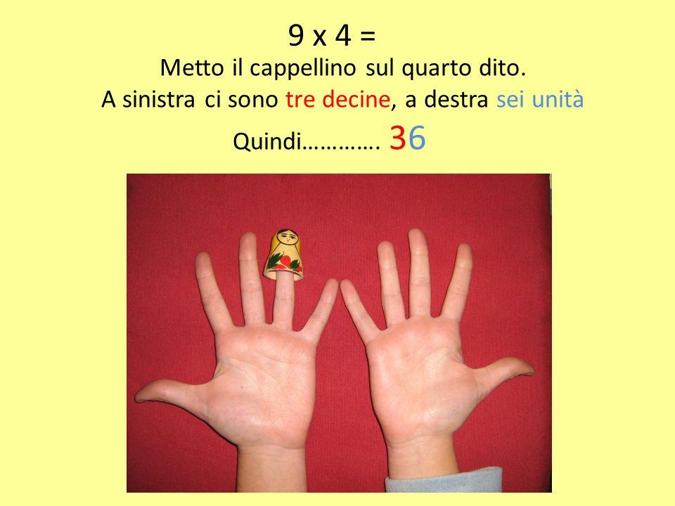 9 x 4 = Metto il cappellino sul quarto dito. A sinistra ci sono tre decine, a destra sei unità Quindi…………. 36