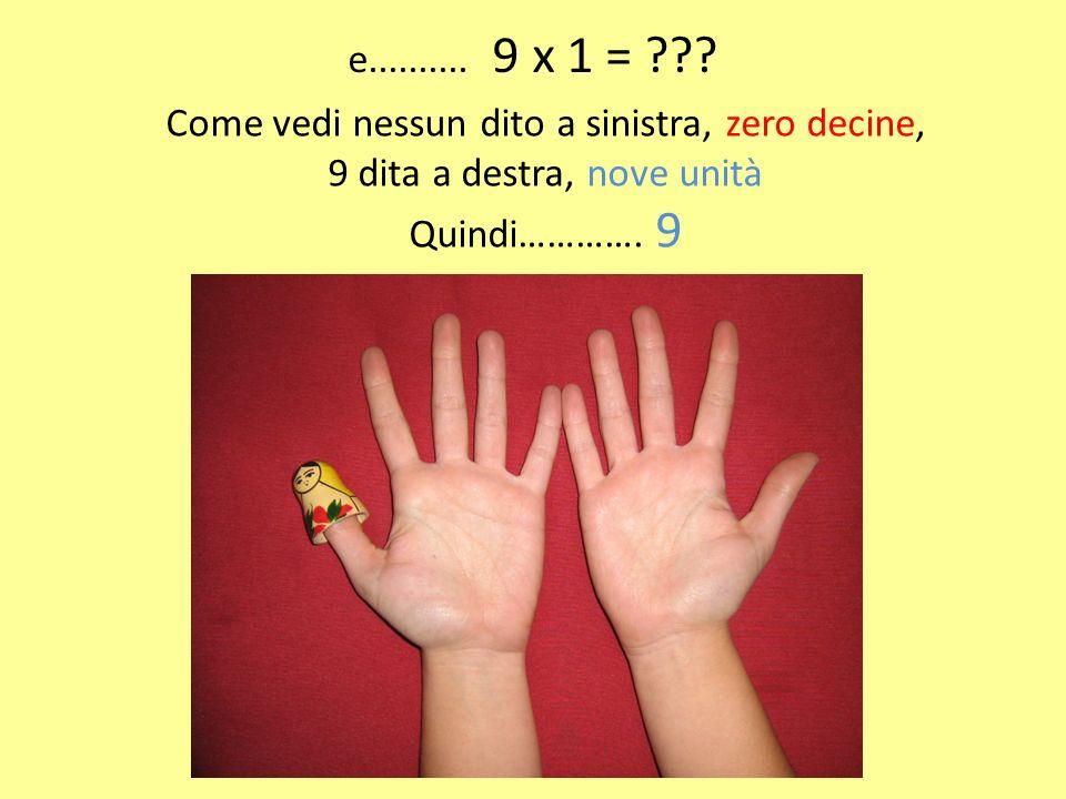 e.......... 9 x 1 = ??? Come vedi nessun dito a sinistra, zero decine, 9 dita a destra, nove unità Quindi…………. 9