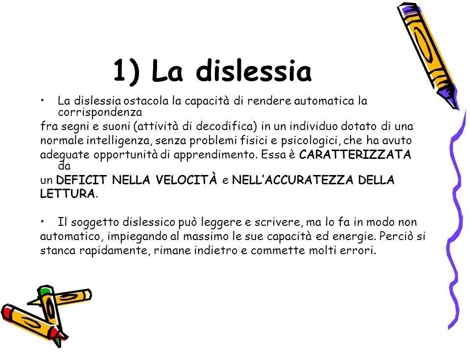 11 1) La dislessia La dislessia ostacola la capacità di rendere automatica la corrispondenza fra segni e suoni (attività di decodifica) in un individuo dotato di una normale intelligenza, senza problemi fisici e psicologici, che ha avuto adeguate opportunità di apprendimento.
