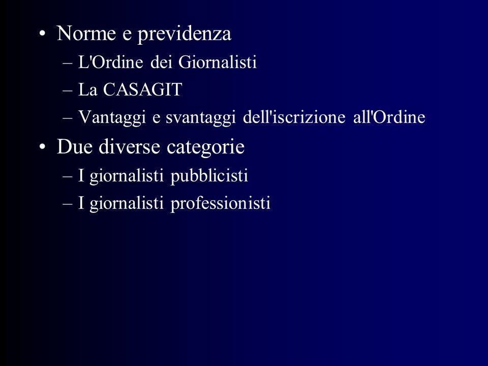 Norme e previdenza –L Ordine dei Giornalisti –La CASAGIT –Vantaggi e svantaggi dell iscrizione all Ordine Due diverse categorie –I giornalisti pubblicisti –I giornalisti professionisti