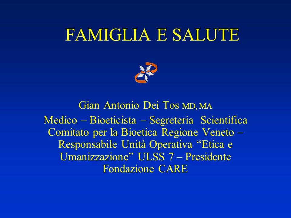 FAMIGLIA E SALUTE Gian Antonio Dei Tos MD, MA Medico – Bioeticista – Segreteria Scientifica Comitato per la Bioetica Regione Veneto – Responsabile Uni