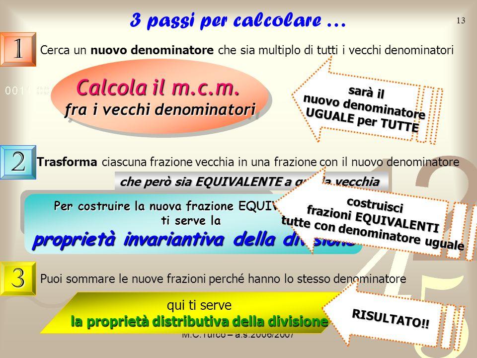 M.C.Turco – a.s.2006/2007 12 Un altro esempio + 9 2 12 5 Per avere denominatori uguali, cerco tra i multipli di 9 99 9 182736 12 e i multipli di 12 24