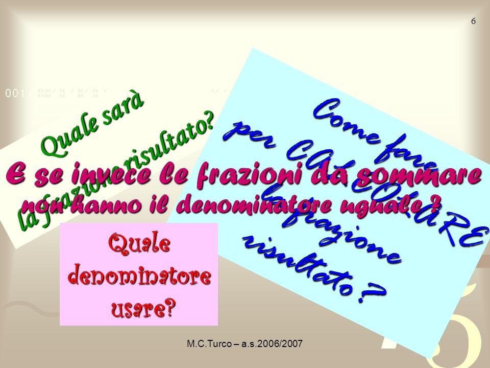 M.C.Turco – a.s.2006/2007 5 Sommare + significa avere IN TUTTO questa parte di rettangolo La frazione rappresenta tutto il pezzo giallo somma di frazi