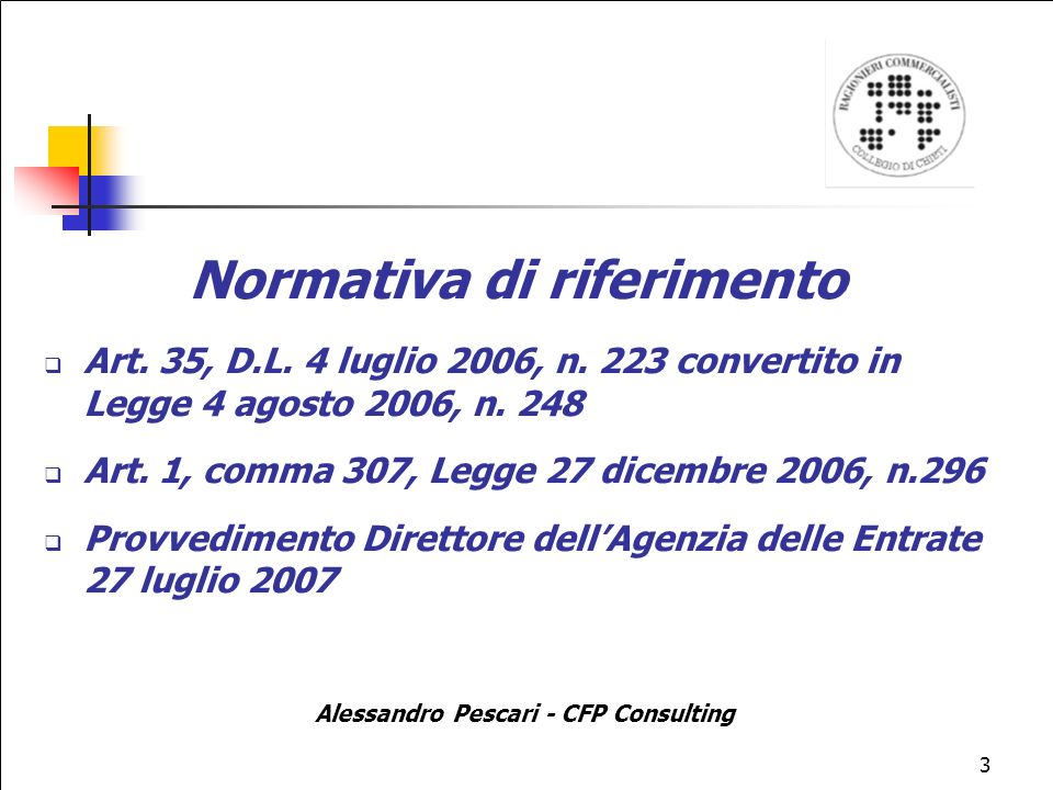 3 Normativa di riferimento Art.35, D.L. 4 luglio 2006, n.