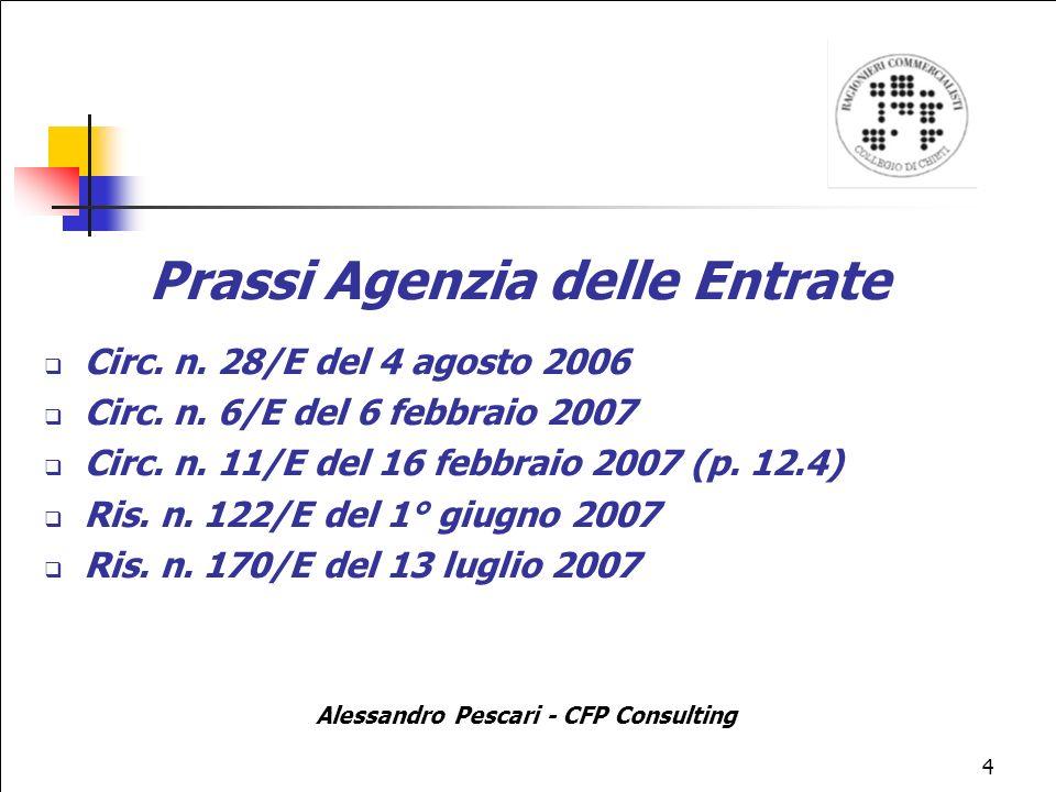 4 Prassi Agenzia delle Entrate Circ.n. 28/E del 4 agosto 2006 Circ.