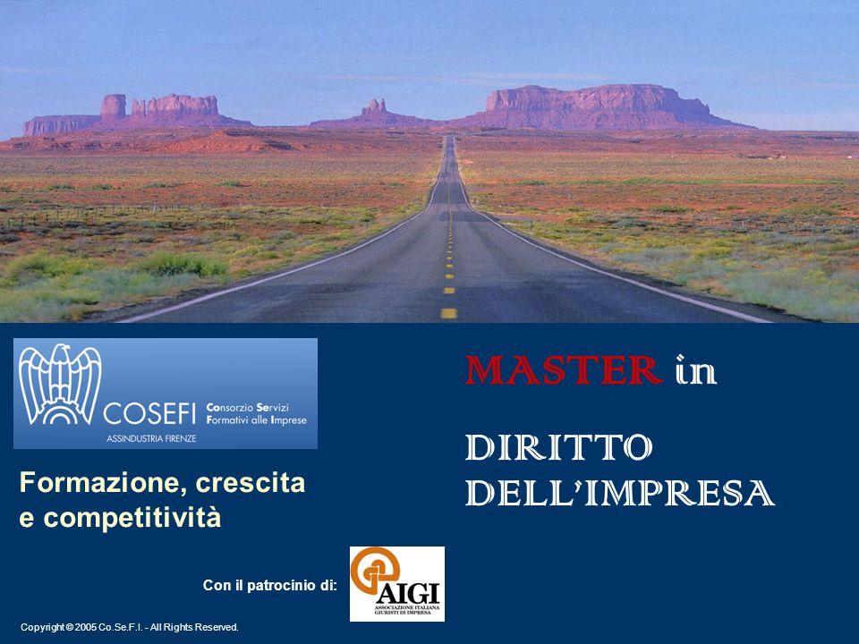 Copyright © 2005 Co.Se.F.I. - All Rights Reserved. Formazione, crescita e competitività MASTER in DIRITTO DELLIMPRESA Con il patrocinio di: