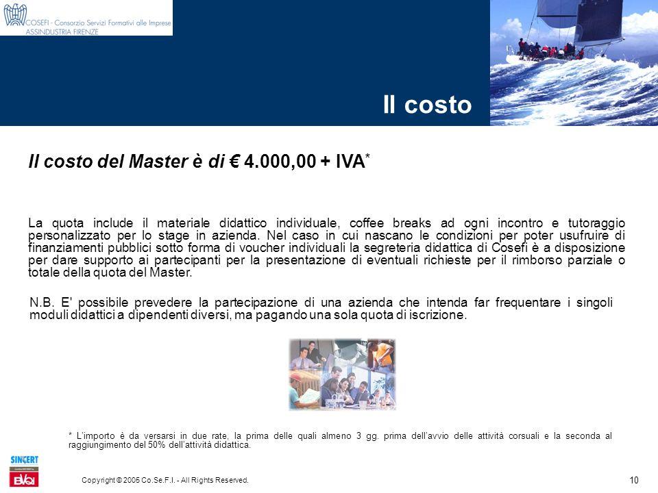 10 Copyright © 2005 Co.Se.F.I. - All Rights Reserved. Il costo Il costo del Master è di 4.000,00 + IVA * La quota include il materiale didattico indiv