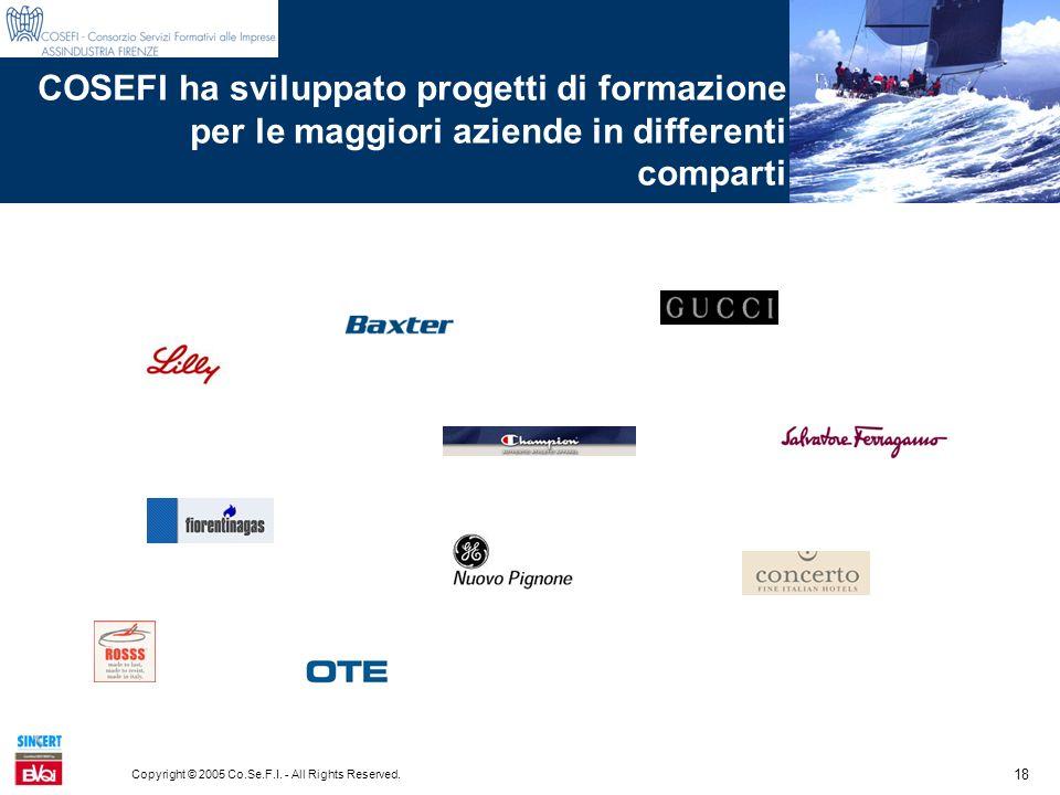 18 Copyright © 2005 Co.Se.F.I. - All Rights Reserved. COSEFI ha sviluppato progetti di formazione per le maggiori aziende in differenti comparti