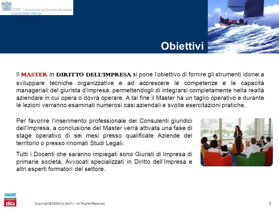 3 Copyright © 2005 Co.Se.F.I. - All Rights Reserved. Obiettivi MASTER in DIRITTO DELLIMPRESA Il MASTER in DIRITTO DELLIMPRESA si pone lobiettivo di fo