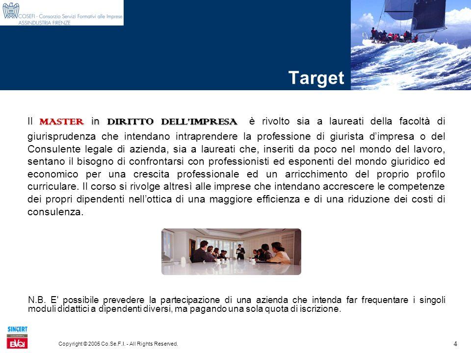 4 Copyright © 2005 Co.Se.F.I. - All Rights Reserved. Target MASTER in DIRITTO DELLIMPRESA Il MASTER in DIRITTO DELLIMPRESA è rivolto sia a laureati de