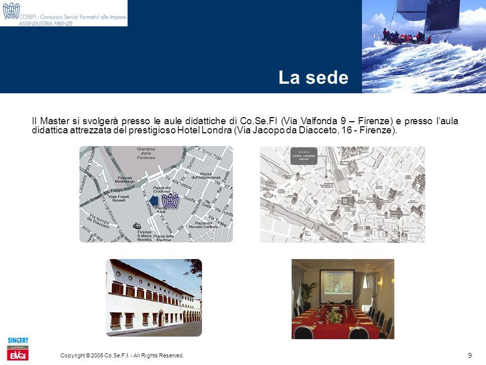 9 Copyright © 2005 Co.Se.F.I. - All Rights Reserved. La sede Il Master si svolgerà presso le aule didattiche di Co.Se.FI (Via Valfonda 9 – Firenze) e