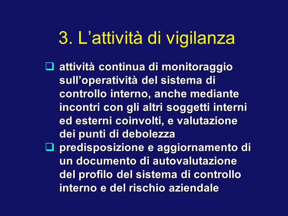 3. Lattività di vigilanza attività continua di monitoraggio sulloperatività del sistema di controllo interno, anche mediante incontri con gli altri so
