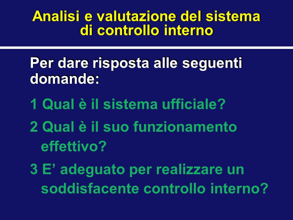 1 Qual è il sistema ufficiale? 2 Qual è il suo funzionamento effettivo? 3 E adeguato per realizzare un soddisfacente controllo interno? Analisi e valu