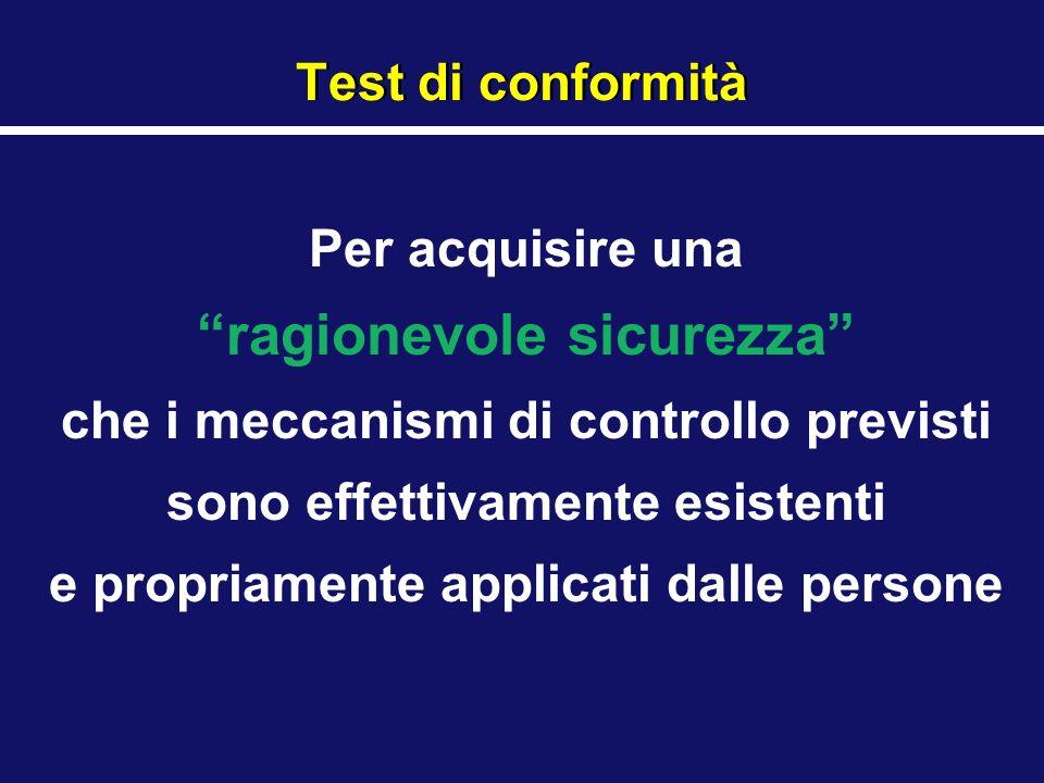 Test di conformità Per acquisire una ragionevole sicurezza che i meccanismi di controllo previsti sono effettivamente esistenti e propriamente applica