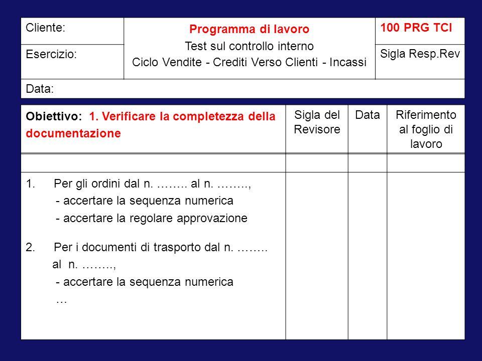 Obiettivo: 1. Verificare la completezza della documentazione Sigla del Revisore DataRiferimento al foglio di lavoro Cliente: Programma di lavoro Test