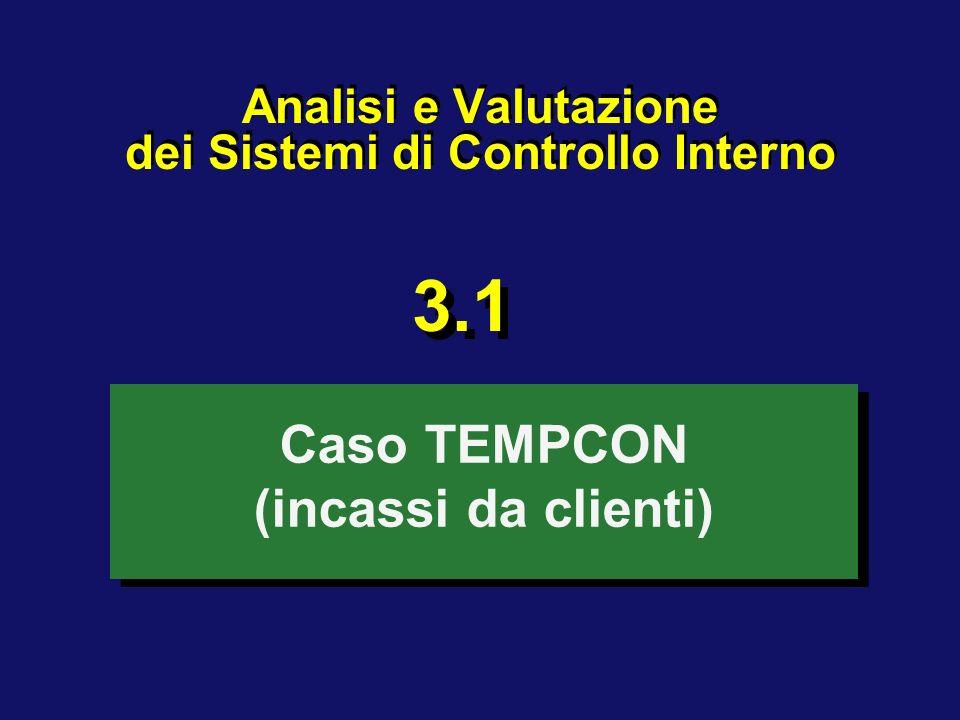 Analisi e Valutazione dei Sistemi di Controllo Interno Caso TEMPCON (incassi da clienti) 3.1