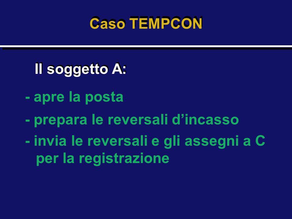 - apre la posta - prepara le reversali dincasso - invia le reversali e gli assegni a C per la registrazione Caso TEMPCON Il soggetto A: