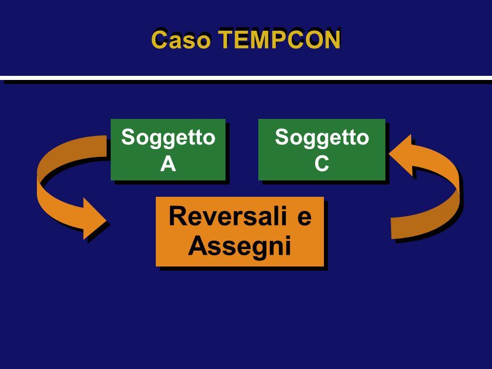 Caso TEMPCON Soggetto A Soggetto A Reversali e Assegni Reversali e Assegni Soggetto C Soggetto C