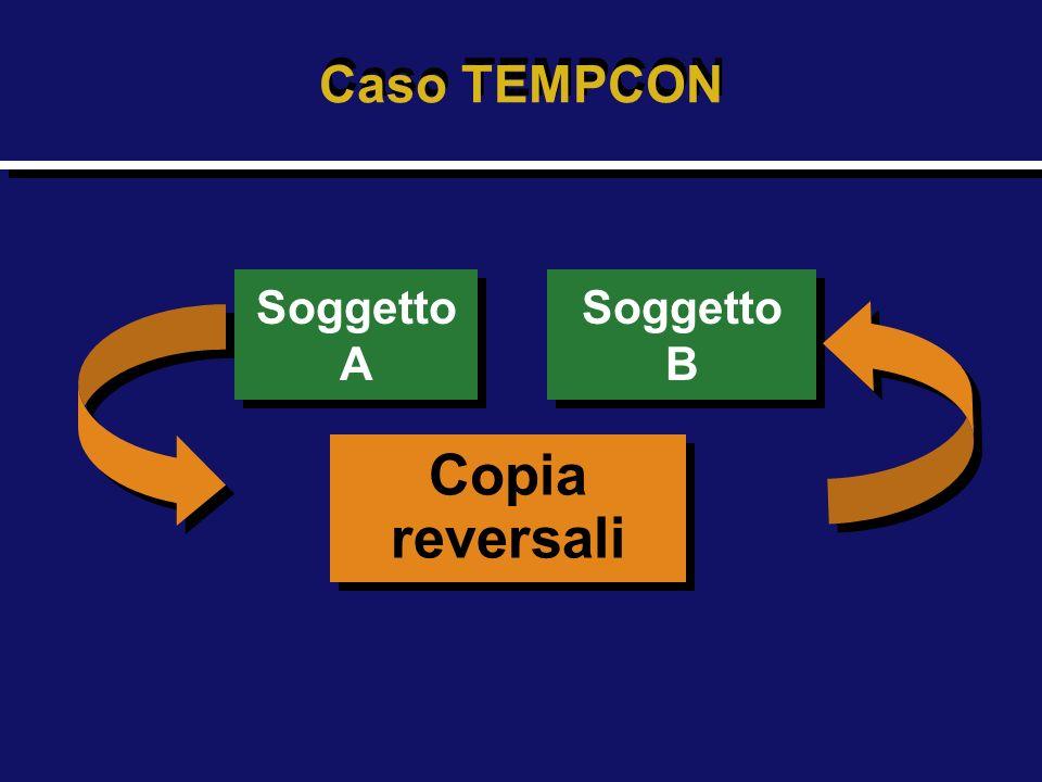 Soggetto A Soggetto A Copia reversali Copia reversali Soggetto B Soggetto B Caso TEMPCON