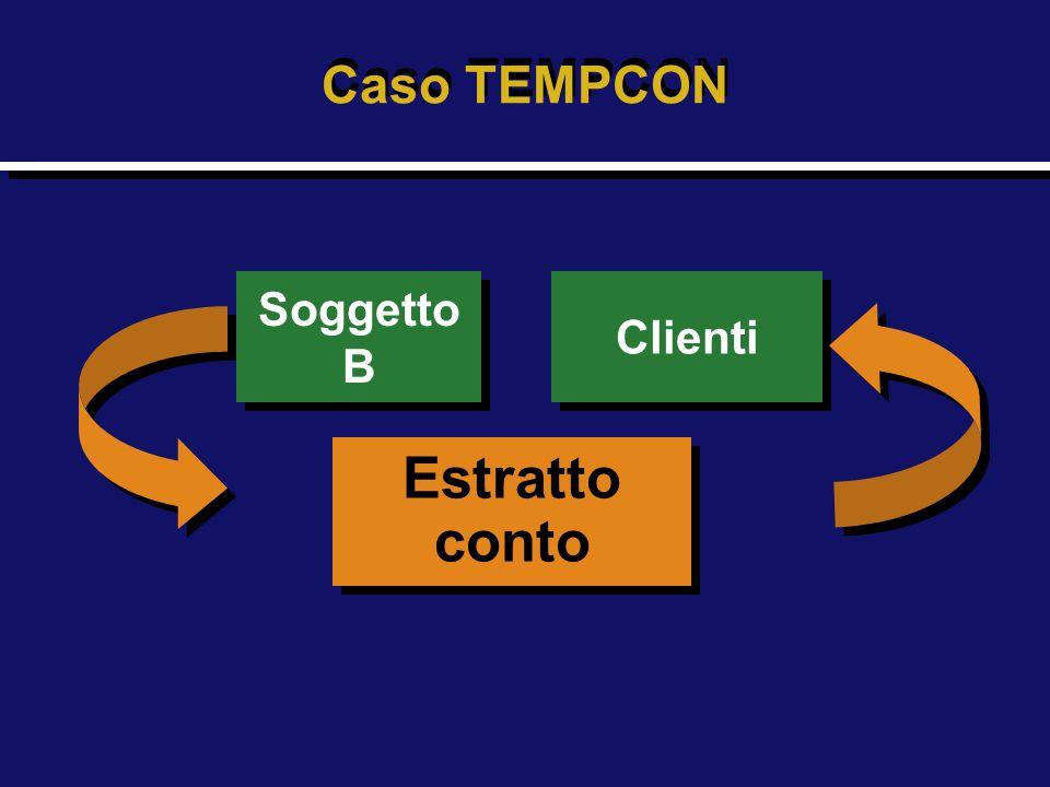 Caso TEMPCON Soggetto B Soggetto B Estratto conto Estratto conto Clienti