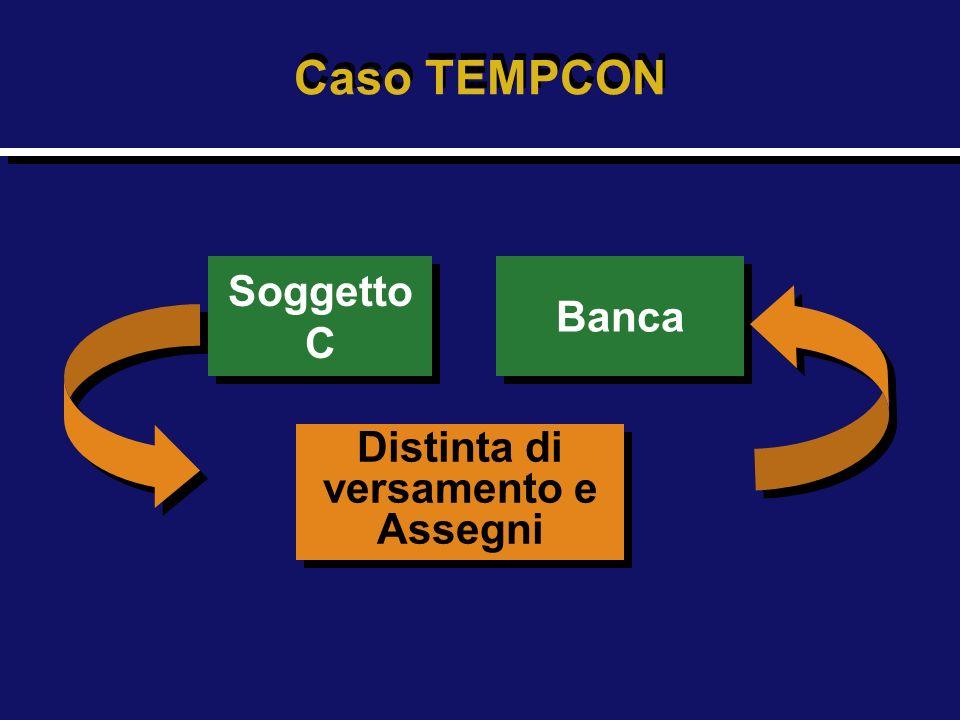 Soggetto C Soggetto C Distinta di versamento e Assegni Distinta di versamento e Assegni Banca Caso TEMPCON