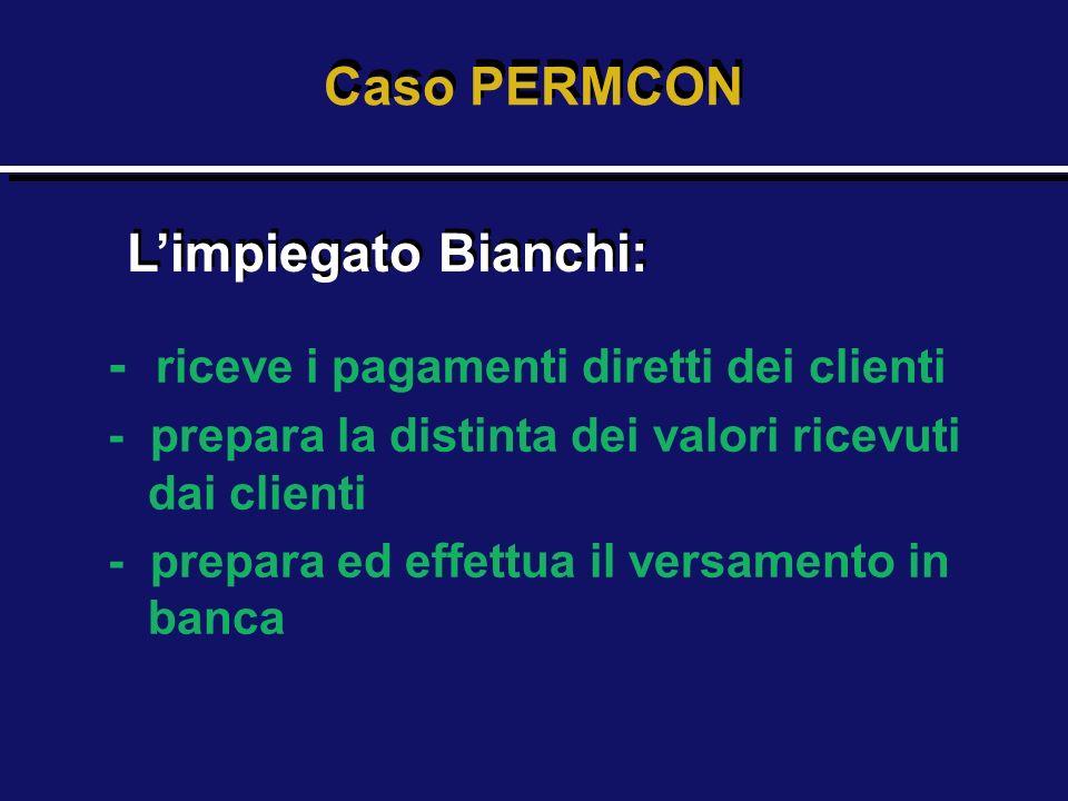 - riceve i pagamenti diretti dei clienti - prepara la distinta dei valori ricevuti dai clienti - prepara ed effettua il versamento in banca Caso PERMC