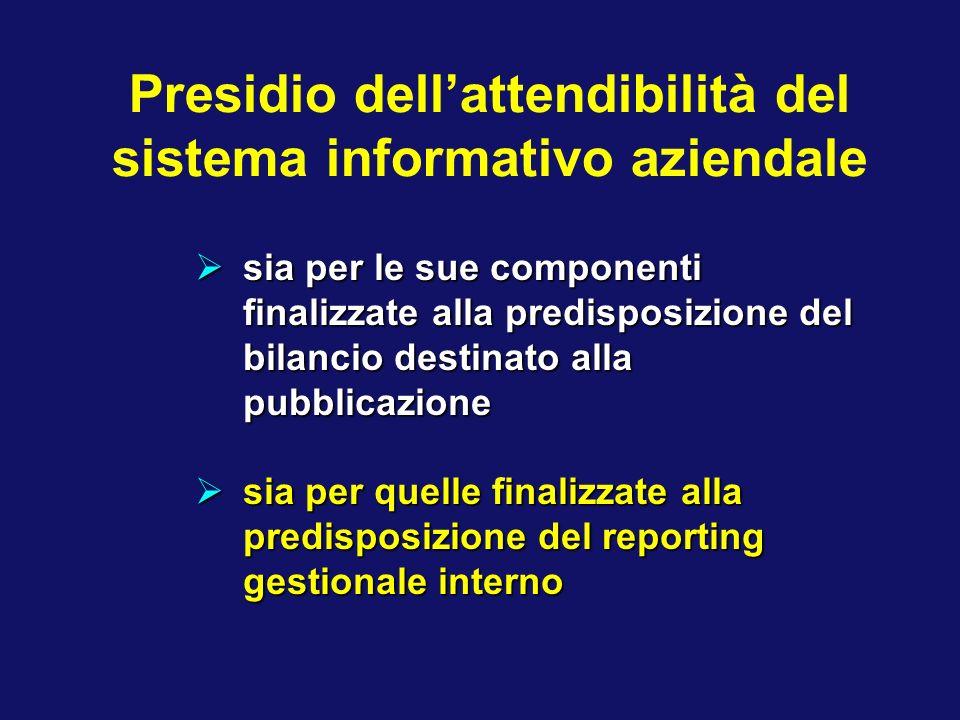 Presidio dellattendibilità del sistema informativo aziendale sia per le sue componenti finalizzate alla predisposizione del bilancio destinato alla pu