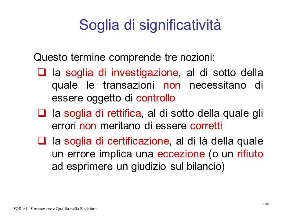 100 FQR srl - Formazione e Qualità nella Revisione Soglia di significatività Questo termine comprende tre nozioni: la soglia di investigazione, al di