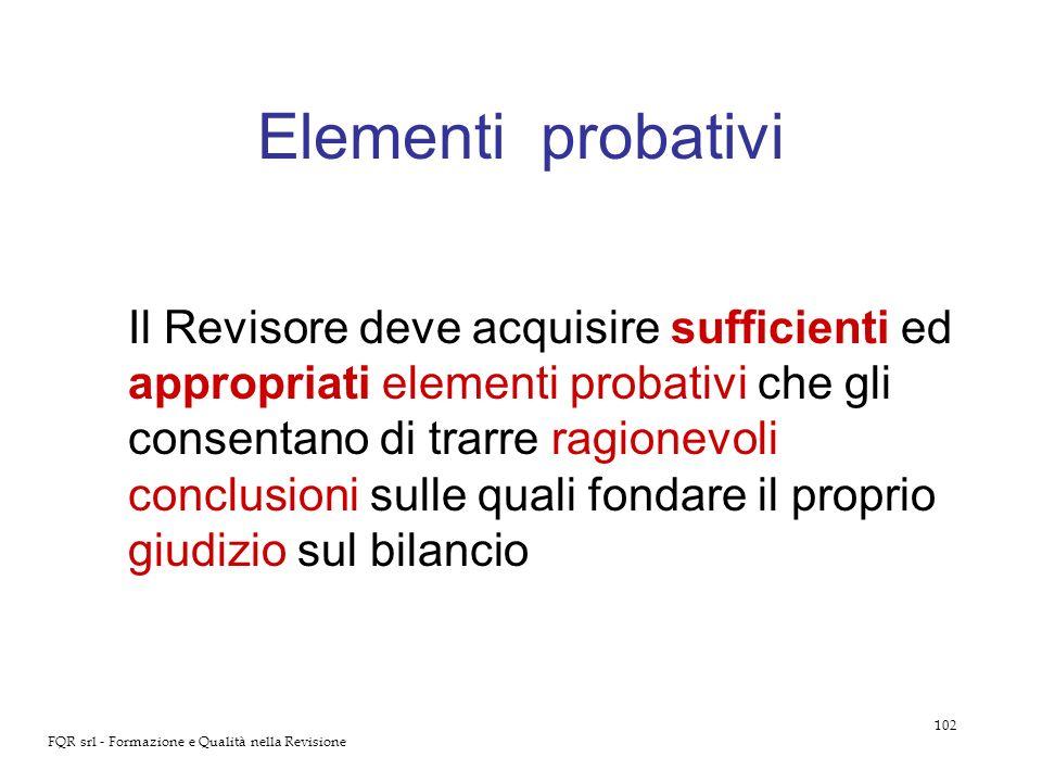 102 FQR srl - Formazione e Qualità nella Revisione Elementi probativi Il Revisore deve acquisire sufficienti ed appropriati elementi probativi che gli