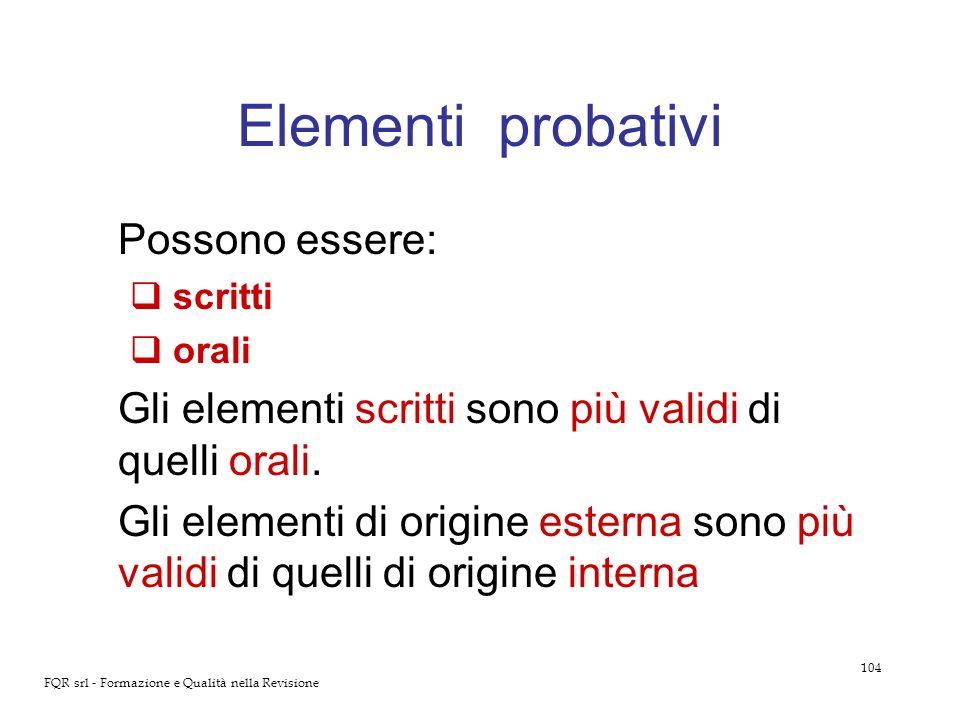 104 FQR srl - Formazione e Qualità nella Revisione Elementi probativi Possono essere: scritti orali Gli elementi scritti sono più validi di quelli ora
