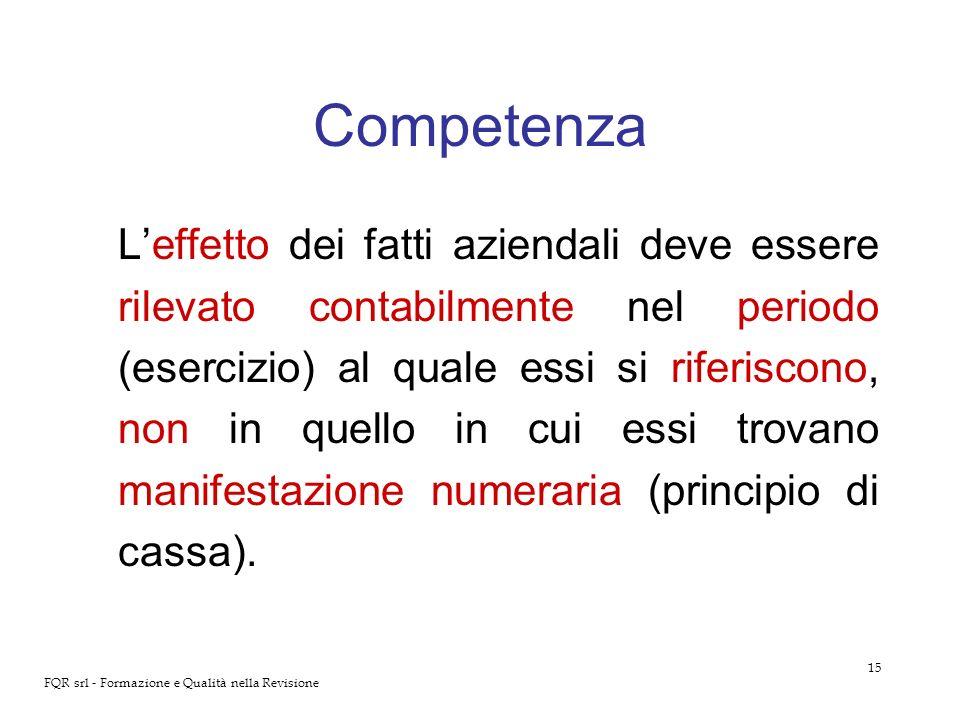 15 FQR srl - Formazione e Qualità nella Revisione Competenza Leffetto dei fatti aziendali deve essere rilevato contabilmente nel periodo (esercizio) a