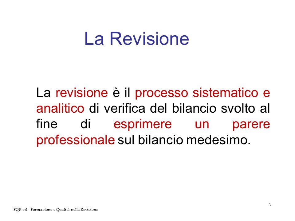 3 FQR srl - Formazione e Qualità nella Revisione La Revisione La revisione è il processo sistematico e analitico di verifica del bilancio svolto al fi