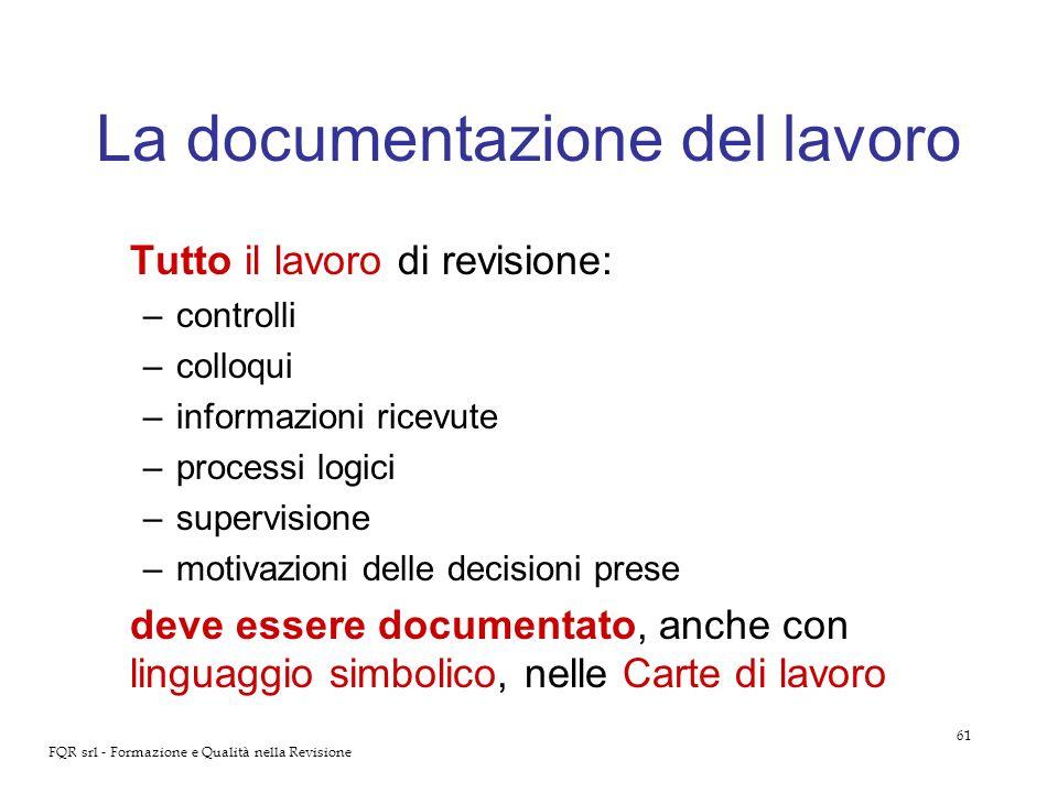 61 FQR srl - Formazione e Qualità nella Revisione La documentazione del lavoro Tutto il lavoro di revisione: –controlli –colloqui –informazioni ricevu