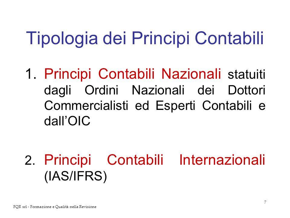 7 FQR srl - Formazione e Qualità nella Revisione Tipologia dei Principi Contabili 1.Principi Contabili Nazionali statuiti dagli Ordini Nazionali dei D