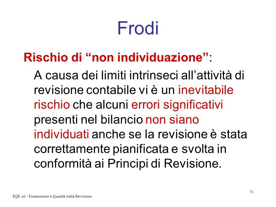 71 FQR srl - Formazione e Qualità nella Revisione Frodi Rischio di non individuazione: A causa dei limiti intrinseci allattività di revisione contabil