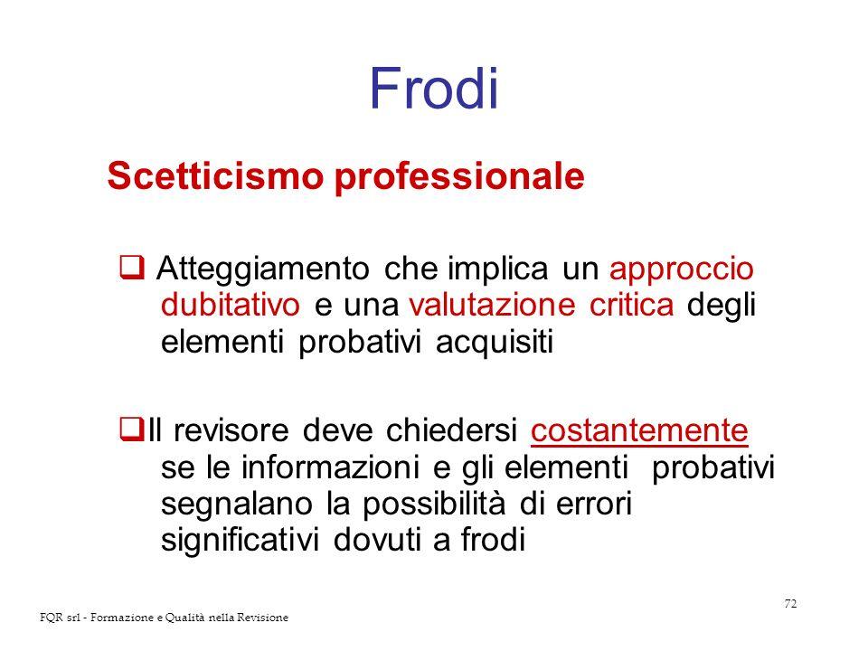 72 FQR srl - Formazione e Qualità nella Revisione Frodi Scetticismo professionale Atteggiamento che implica un approccio dubitativo e una valutazione