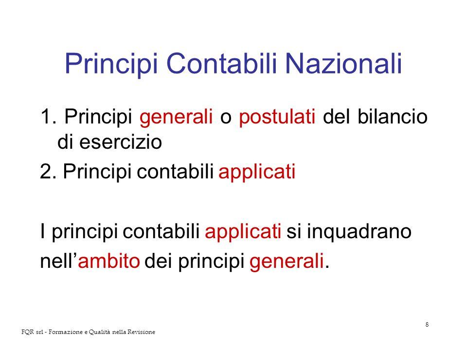 8 FQR srl - Formazione e Qualità nella Revisione Principi Contabili Nazionali 1. Principi generali o postulati del bilancio di esercizio 2. Principi c