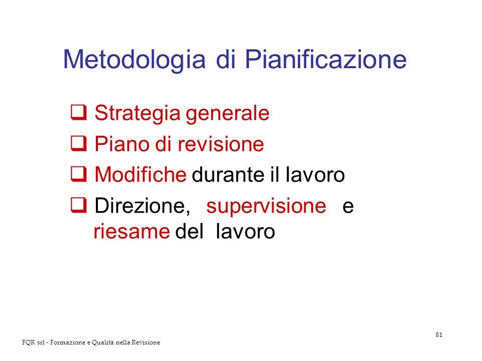 81 FQR srl - Formazione e Qualità nella Revisione Metodologia di Pianificazione Strategia generale Piano di revisione Modifiche durante il lavoro Dire