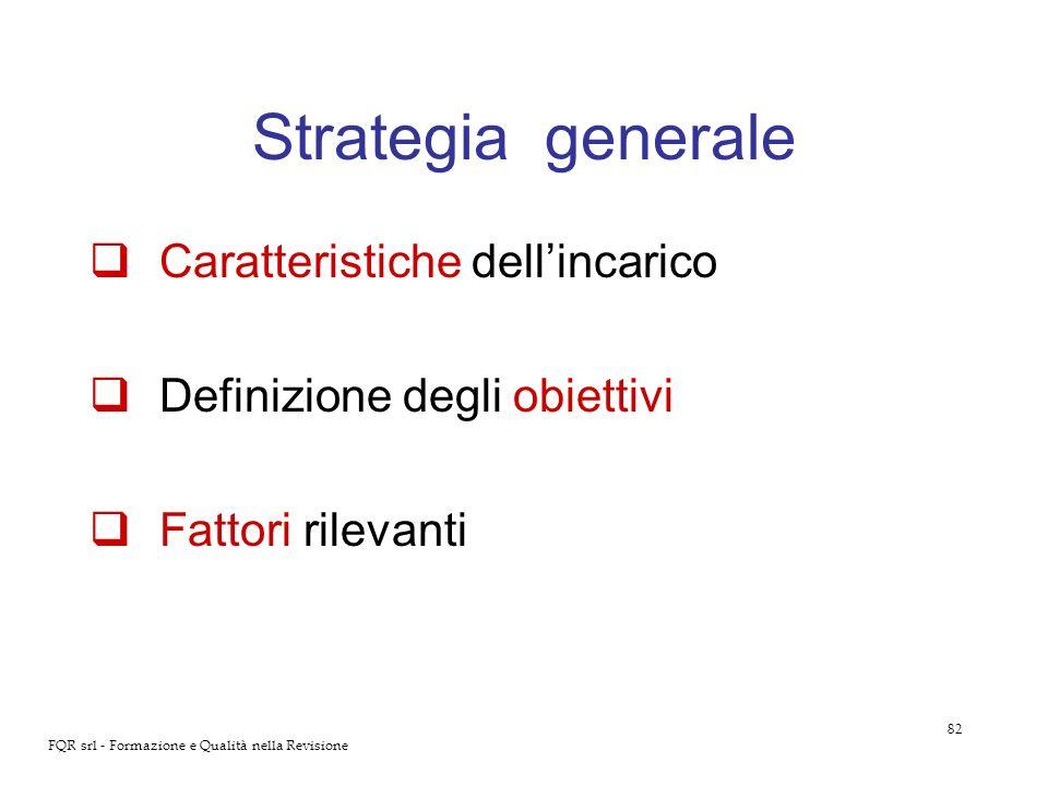 82 FQR srl - Formazione e Qualità nella Revisione Strategia generale Caratteristiche dellincarico Definizione degli obiettivi Fattori rilevanti