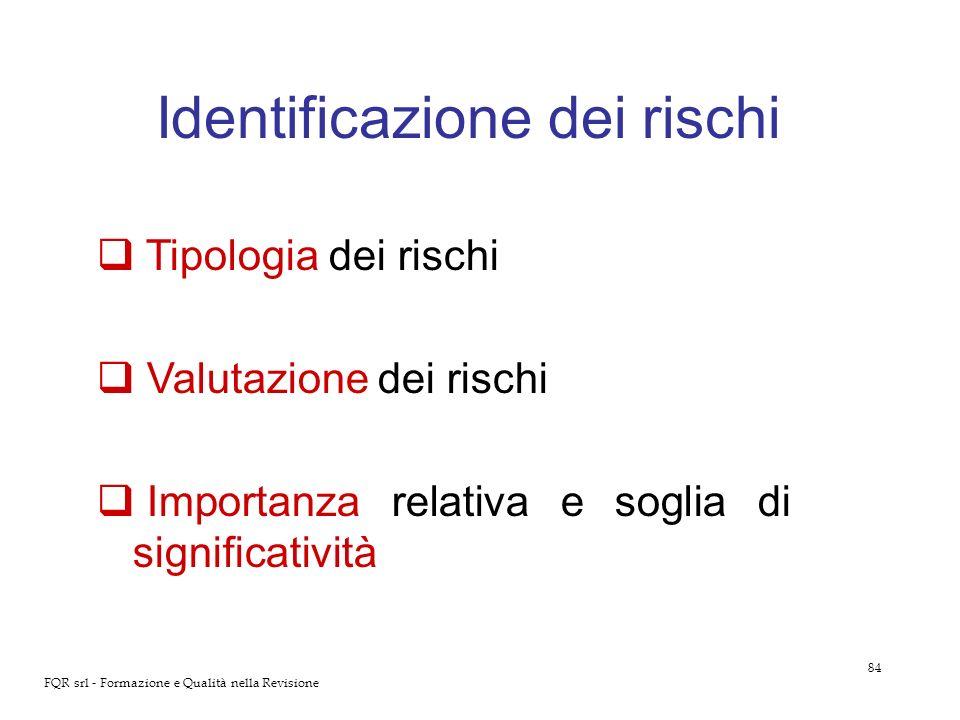 84 FQR srl - Formazione e Qualità nella Revisione Identificazione dei rischi Tipologia dei rischi Valutazione dei rischi Importanza relativa e soglia