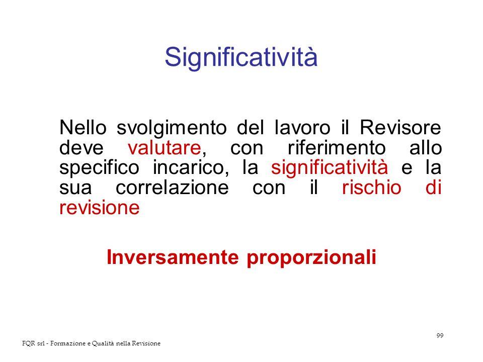 99 FQR srl - Formazione e Qualità nella Revisione Significatività Nello svolgimento del lavoro il Revisore deve valutare, con riferimento allo specifi