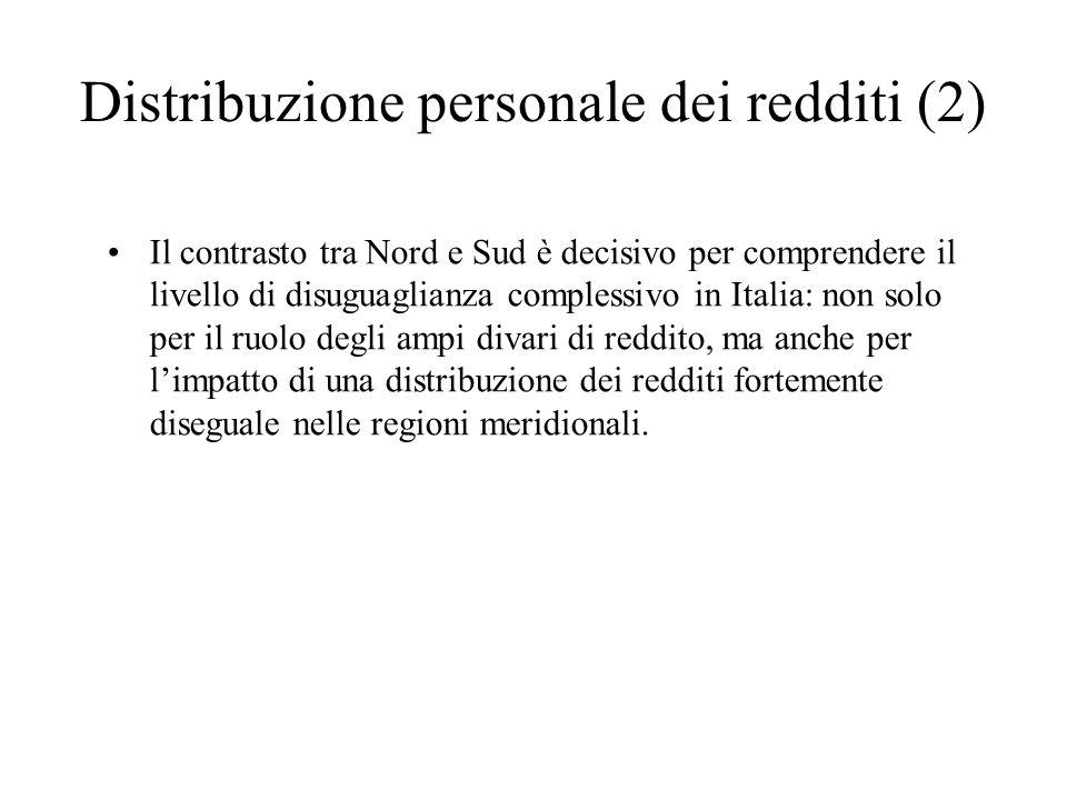 Distribuzione personale dei redditi (2) Il contrasto tra Nord e Sud è decisivo per comprendere il livello di disuguaglianza complessivo in Italia: non