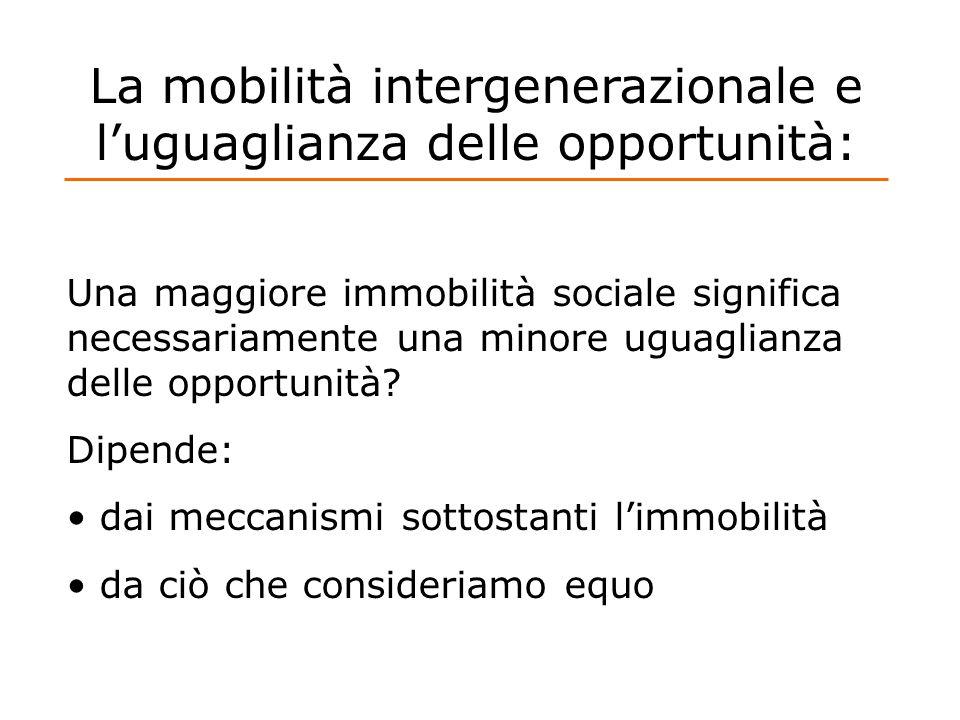 La mobilità intergenerazionale e luguaglianza delle opportunità: Una maggiore immobilità sociale significa necessariamente una minore uguaglianza dell