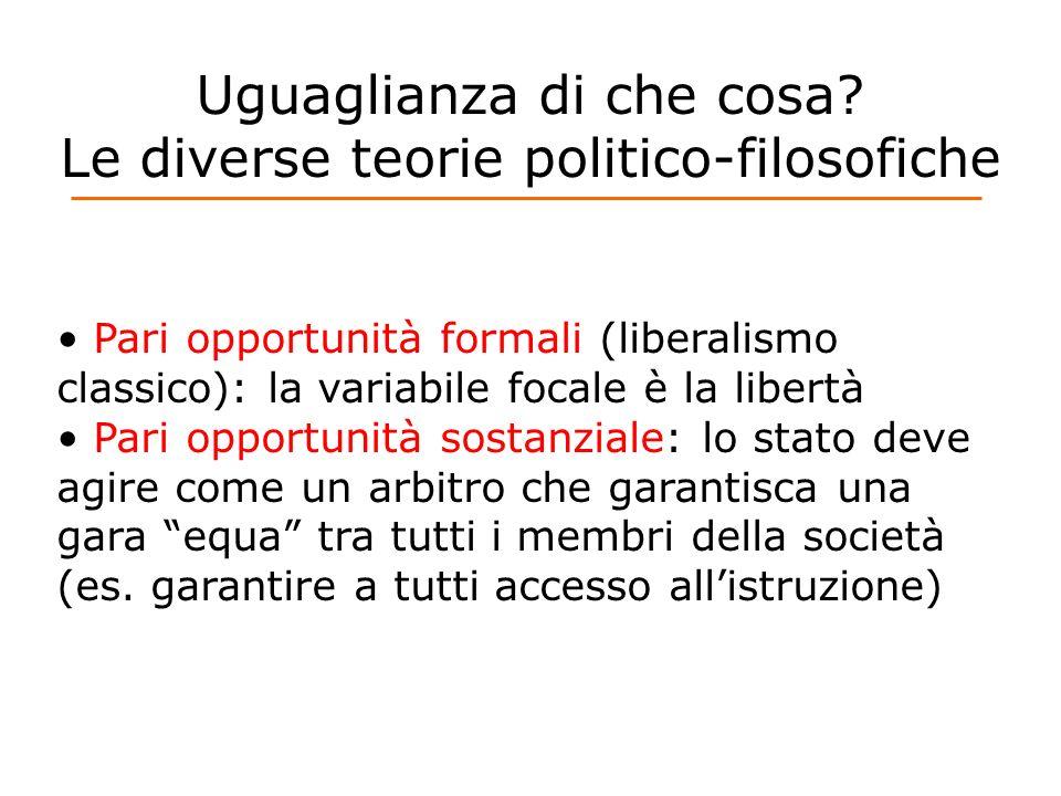 Uguaglianza di che cosa? Le diverse teorie politico-filosofiche Pari opportunità formali (liberalismo classico): la variabile focale è la libertà Pari