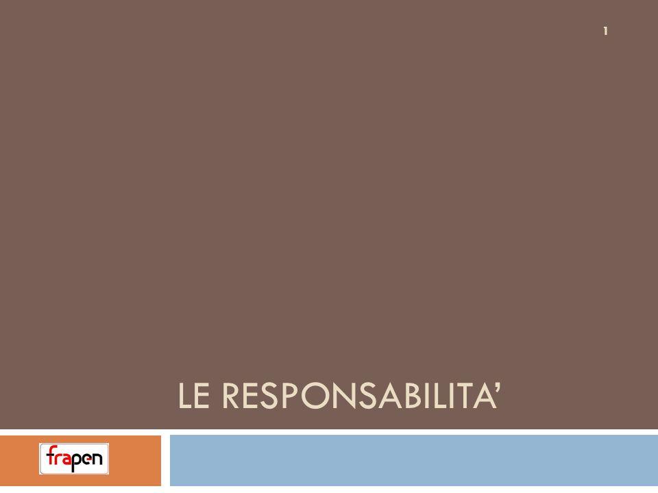 DEFINIZIONI -CONCETTI RESPONSABILE: Colui che merita, a giudizio della Legge, una sanzione SANZIONE: Castigo inflitto da una norma di legge.