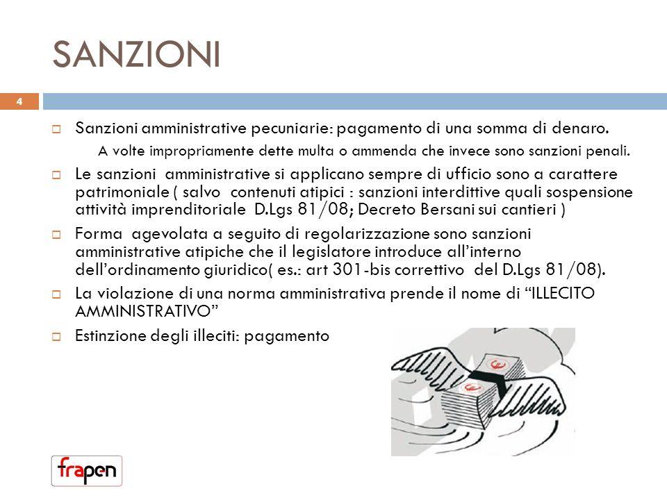 SANZIONI Sanzioni amministrative pecuniarie: pagamento di una somma di denaro.