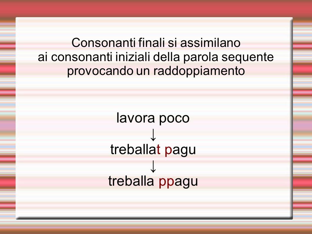Consonanti finali si assimilano ai consonanti iniziali della parola sequente provocando un raddoppiamento lavora poco treballat pagu treballa ppagu